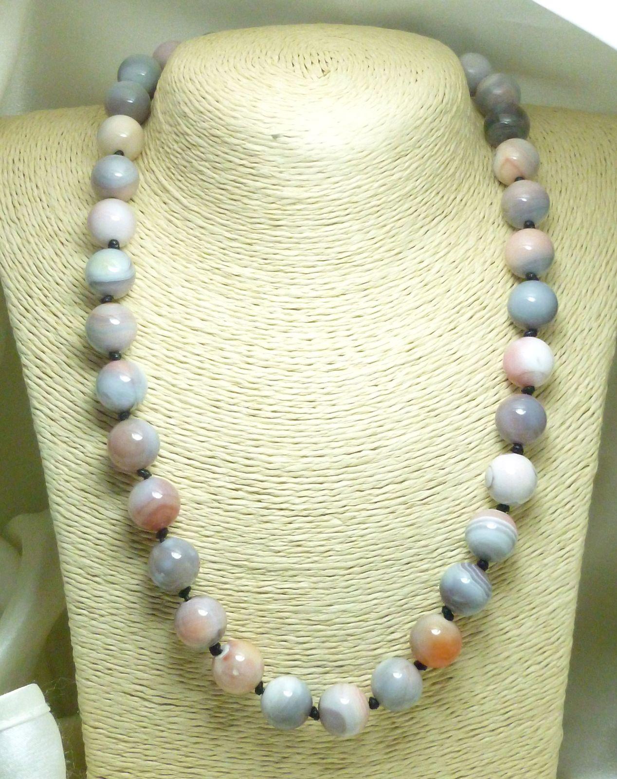 Pink Botswana Agate Gemstone Round Beaded Necklace 20 inch
