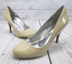 Jessica Simpson Oscar Sz 9 B Women Nude Patent Leather Round Toe High Heel - $17.42
