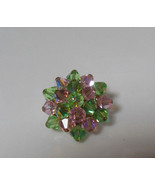 Vintage Light Green & Pink Crystal Cluster Brooch Signed Japan - $26.72