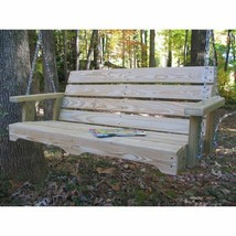 Hanging Wood Swing Bench 4 ft Wooden Pine Porch Loveseat Swing Chair Seat - $225.61