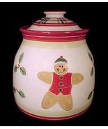 Enesco Gingerbread Man Christmas Cookie Jar Sprigs Holly Julie Ueland Ca... - $24.95