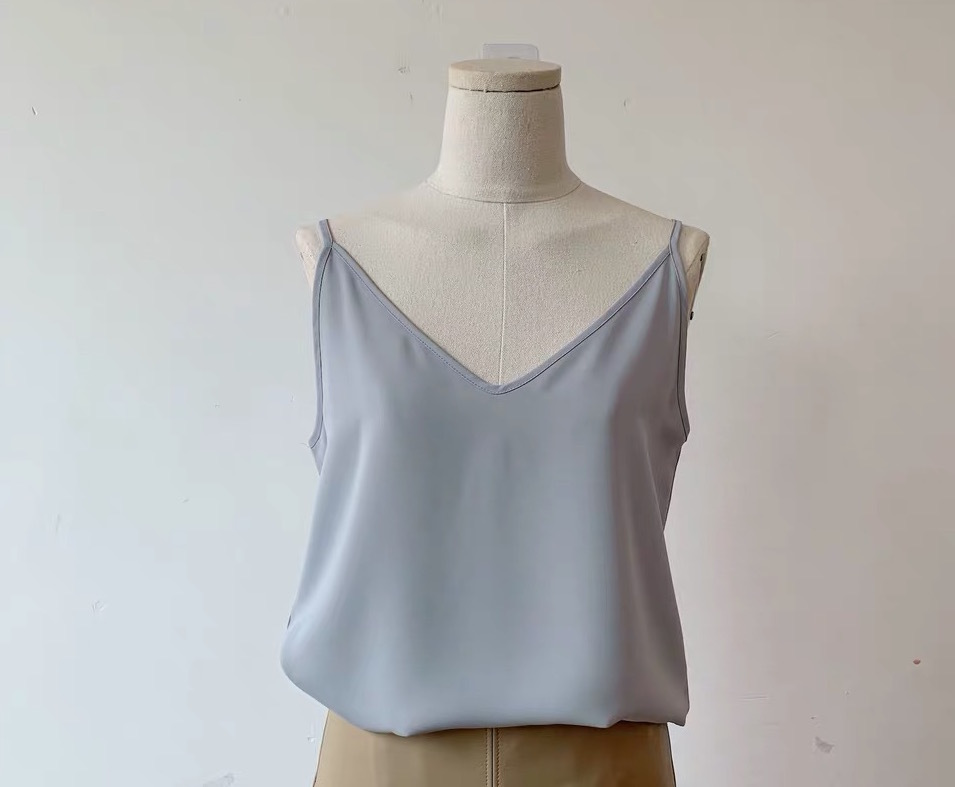 Women Sleeveless Strap Tank Top Camisole V Neck Chiffon Tanks Solid Loose Shirt