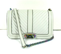 Rebecca Minkoff NWT Ivory Crossbody Clutch iridescent Chain Quilted Love - £144.32 GBP