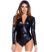 Latex Shiny Black Zipper Front Long Sleeve Bodysuit Women's - $39.95