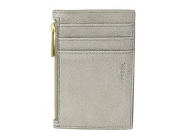 New Women's Fossil Shelby Champagne Zip Coin Card Pocket Wallet Metallic... - $17.14