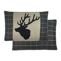 FILLED LUXURY LARGE WOOL STAGS HEAD DEER TARTAN CHECK PLAID CHARCOAL GRE... - $34.64