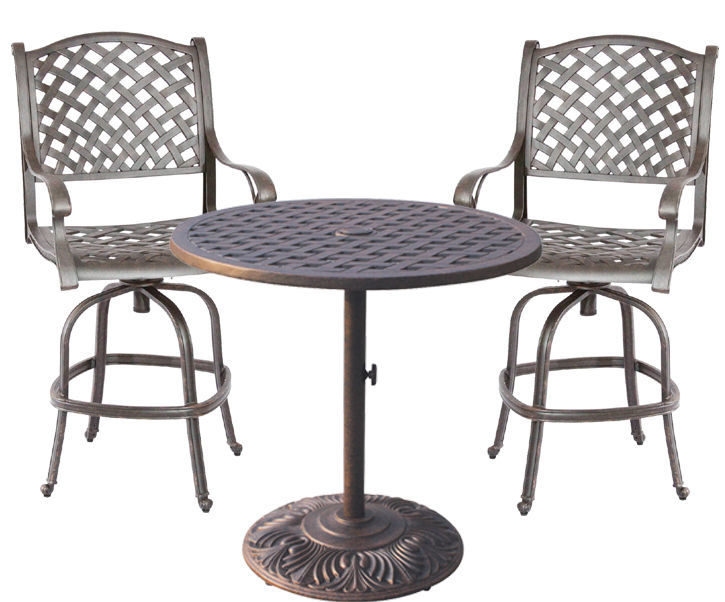 3 Piece Bistro Patio Set Outdoor Cast Aluminum Furniture Nassau Bar Stool Swivel