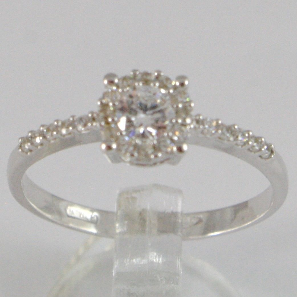 WHITE GOLD RING 750 18K, SOLITAIRE FLOWER WITH ZIRCON CUBIC CARAT 0.74