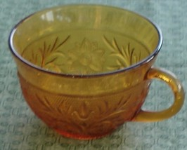 Vintage Indiana Amber Sandwich Glass Cup, Very Good Condition - $9.89