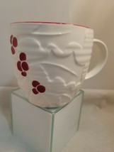 Starbucks Holly Berry 2010 Raised Design Coffee Cup, Mug 16 Ounce White Red - $17.75