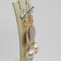 Silver Earrings 925 Tried and Tested Hanging with Pearl Fishing Crystals Bow image 2
