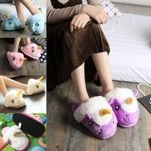 Unicorn Plush Slippers Adult Home New Winter Warm Soft Cute Womens Slipp... - £11.66 GBP