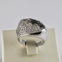 925 Silber Ring mit Blüte aus Zirkonia Kubische Weiß & Schwarz image 3