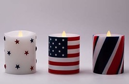 """Flameless Candles Set of 3(D 3.5"""" x H 5"""") Battery Operated American Flag... - $42.70"""