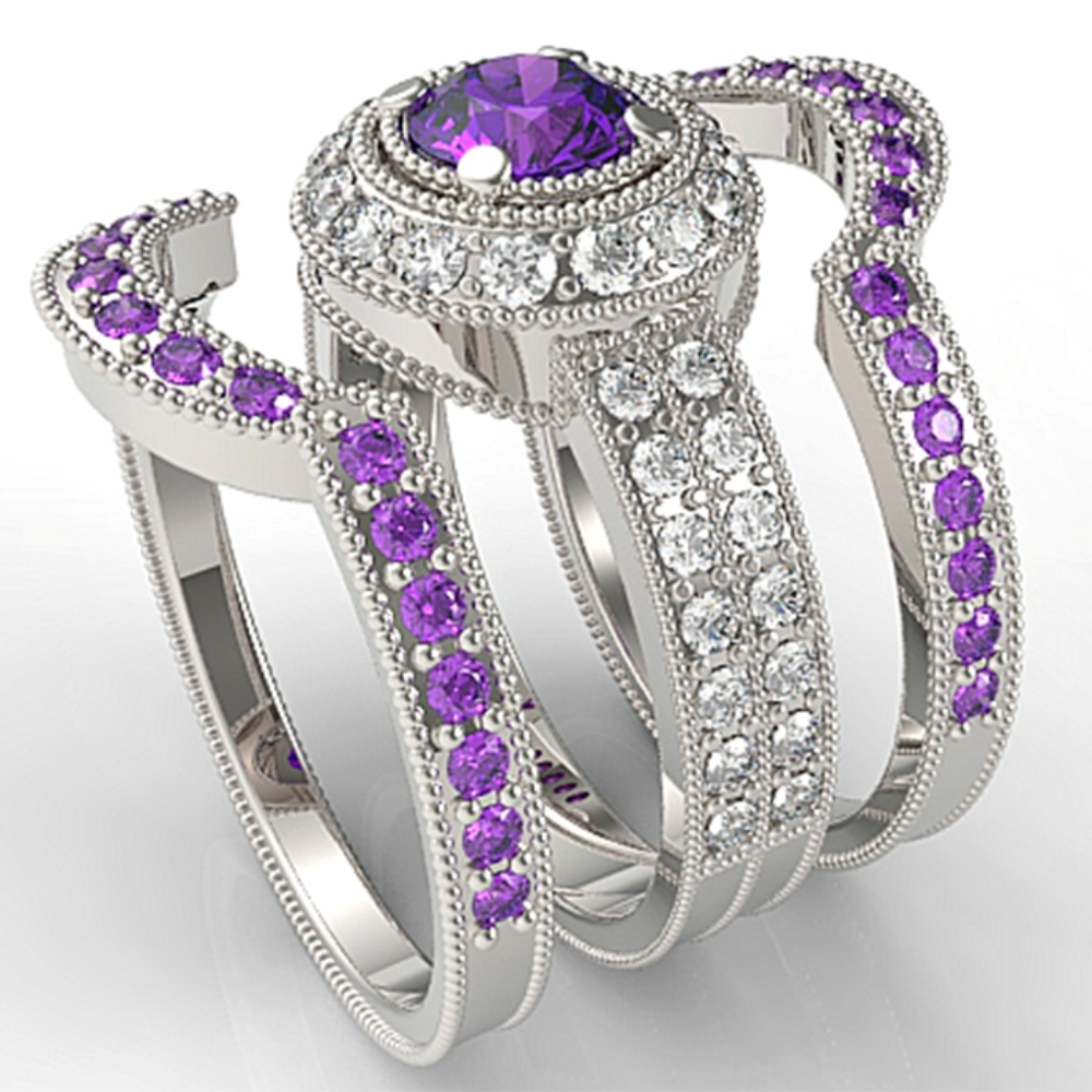 Primary image for 925 Silver White Gold Plated Round Purple Amaethyst Engagement Trio Ring Set
