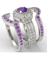 925 Silver White Gold Plated Round Purple Amaethyst Engagement Trio Ring... - $138.99