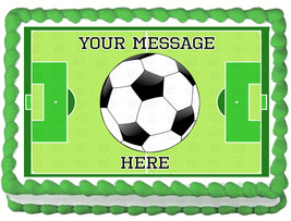 SOCCER BALL Image Edible cake topper Boys Party decoration - $6.50+