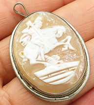 925 Sterling Silver - Vintage Horse Rider Cameo Drop Pendant - P4955 - $43.42