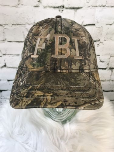Realtree Camo Hat FBI San Francisco USA Flag Print Under Brim Mens Cap Outdoors