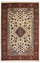 Hand Knotted Oriental Area Wool Rugs Indian Handmade All Over Ivory Carp... - $297.37