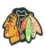 "VINTAGE NHL CHICAGO BLACKHAWKS CHIEF IRON ON PATCH 2.5"" X 3"" SEW MASCOT ... - $6.60"
