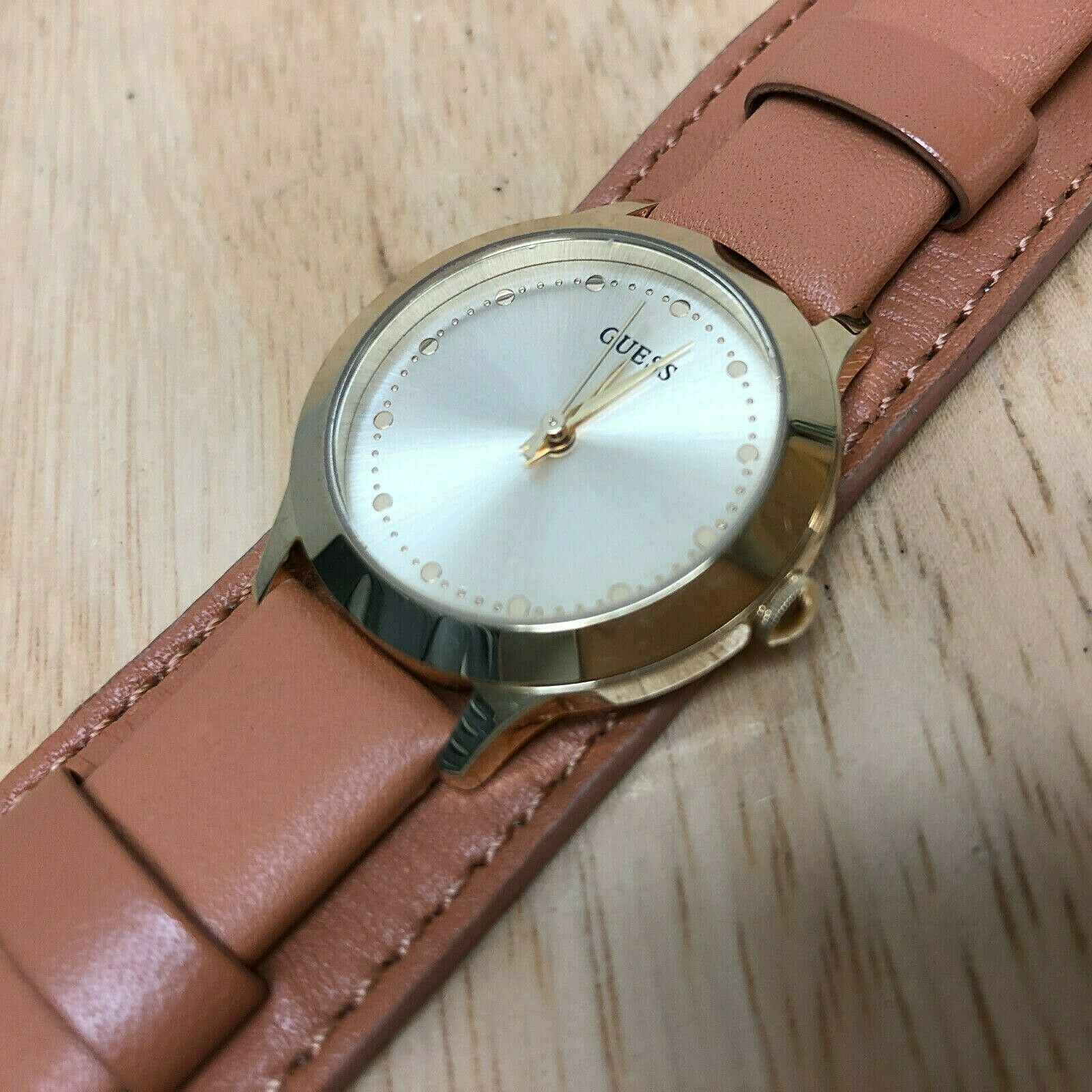 Primary image for GUESS Lady Gold Tone Wide Leather Bund Band Analog Quartz Watch Hour~New Battery