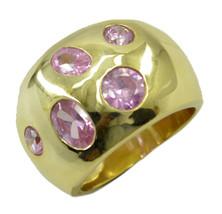 adorable Pink CZ Gold Plated Pink Ring Designer US 6,7,8,9 - $13.99