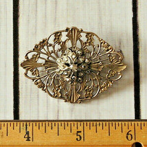 high quality vintage marcasite silver filigree pin brooch - $14.84