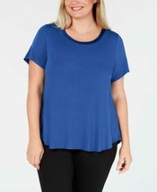 Alfani Plus Size Satin-Trim High-Low T-Shirt (Dark Blue, XXXL) - $29.60