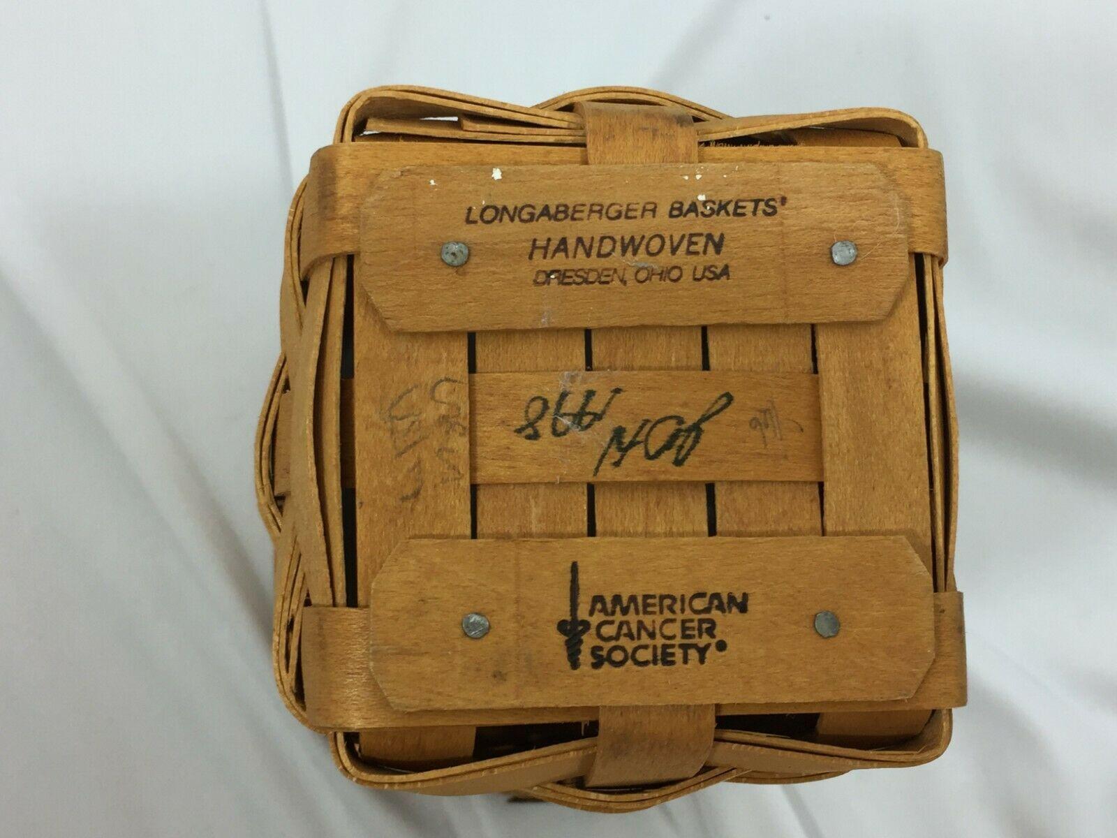 LONGABERGER 1998 Horizon of Hope Basket 26417 Vintage No Handle