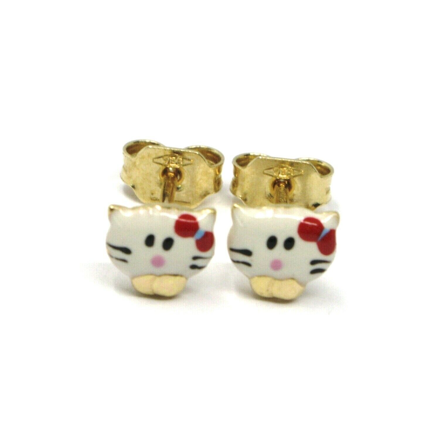 18K YELLOW GOLD ROUNDED ENAMEL EARRINGS MINI CAT 6mm, MADE IN ITALY