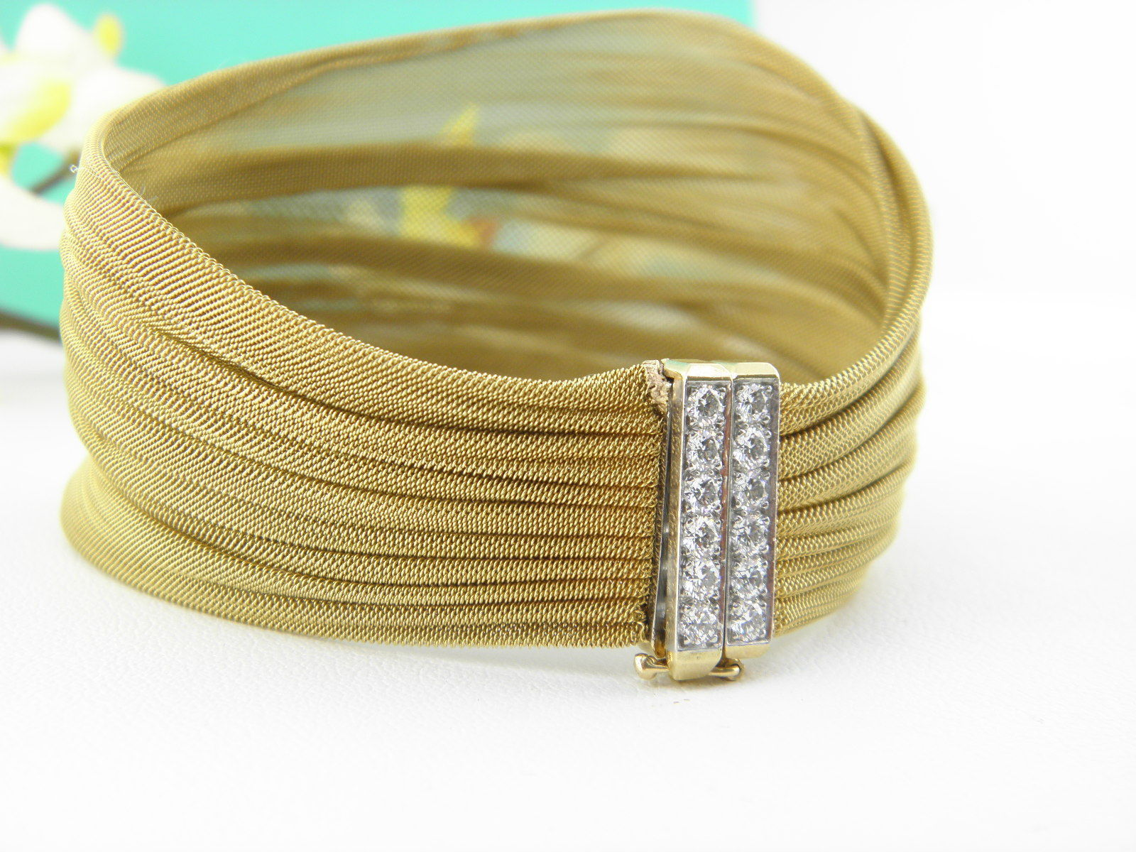 Tiffany Co Diamond Platinum And 18k Gold Mesh Bracelet 4 890 20