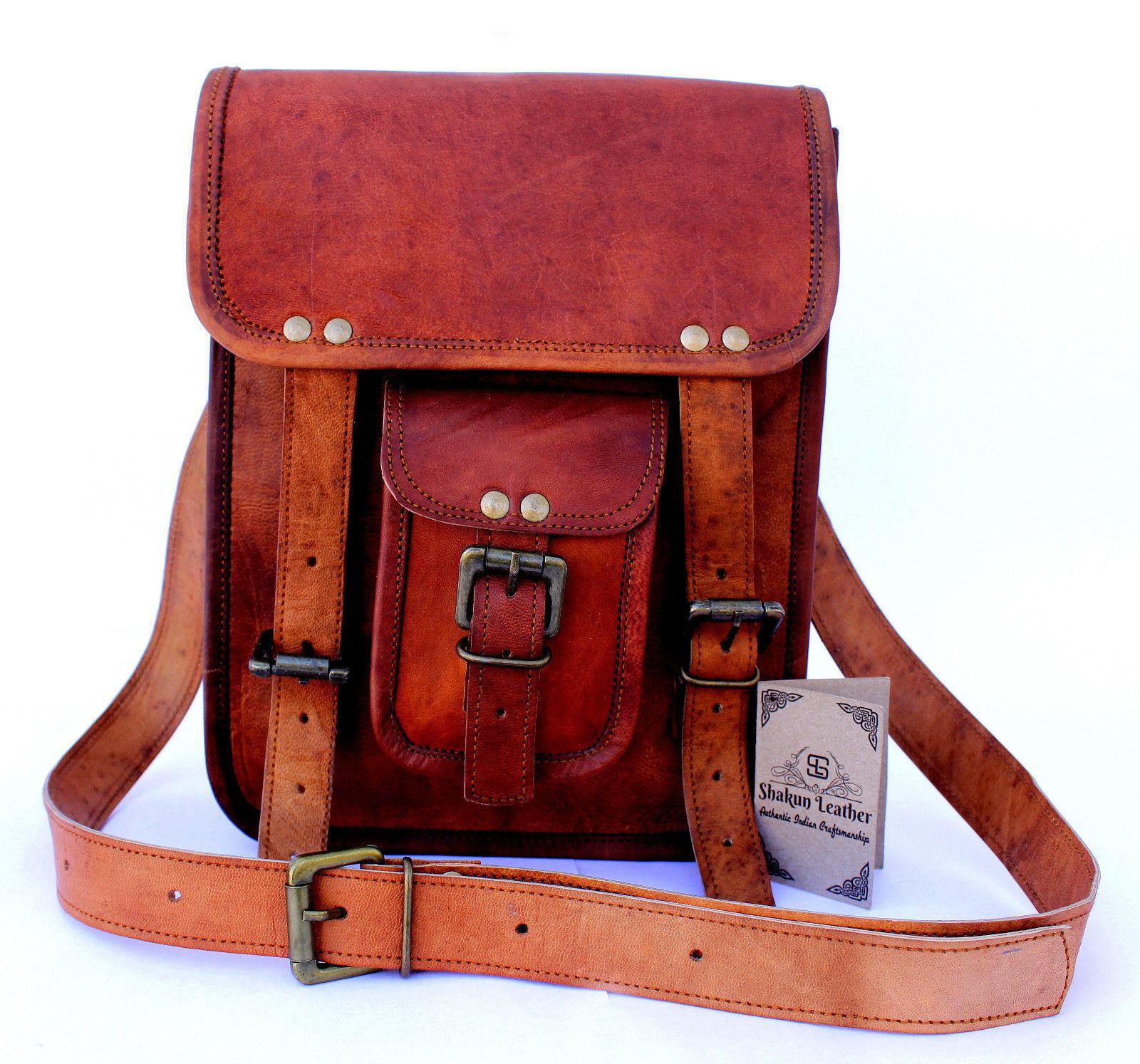 "New 12"" Women-Brown-Soft Rustic Leather-Messenger-Handmade-Purse-Cross-Body-Bag"