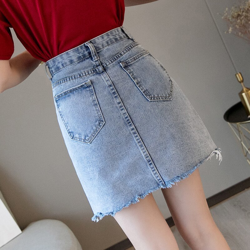 Mini Denim Skirt 2019 Summer Wild New Large Size High Waist Slim Fit A line Stud image 3