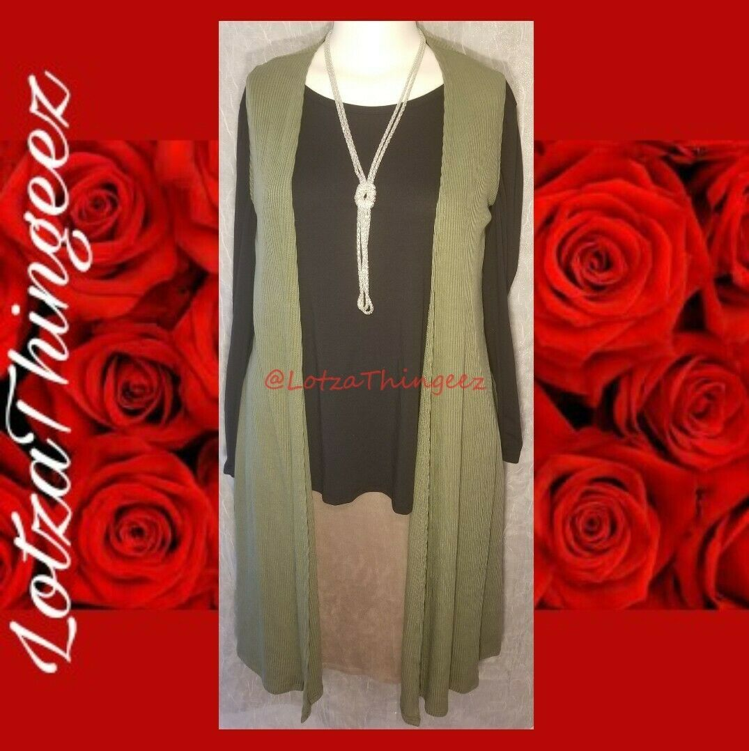 LuLaRoe S JOY Open Sweater Vest Cardigan Long Olive Green Ribbed Side Slits