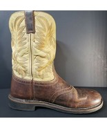 Justin Mens Western Work Boots 13 D Soft Toe Size 13D Waxy Brown WK4660  - $38.65