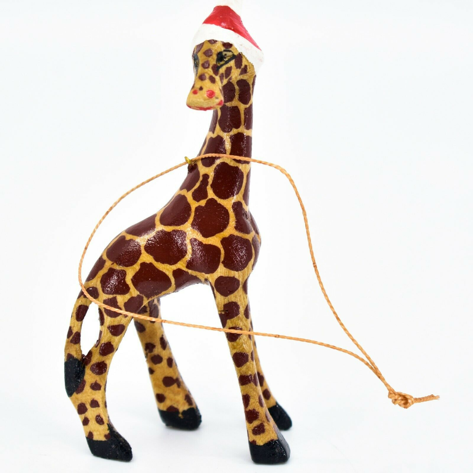 Hand Carved Painted Jacaranda Wood Santa Hat Giraffe Safari Christmas Ornament