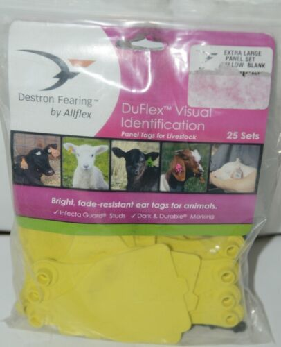 Destron Fearing DuFlex Visual ID Livestock Panel Tags XL Yellow Blank 25 Sets