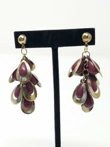 Vintage cluster pierced dangle earring plastic purple silver tone custom... - $17.82