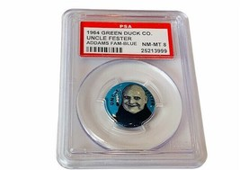 Addams Family Uncle Fester Pinback PSA 8 Green Duck 1964 Jackie Coogan b... - $1,485.00