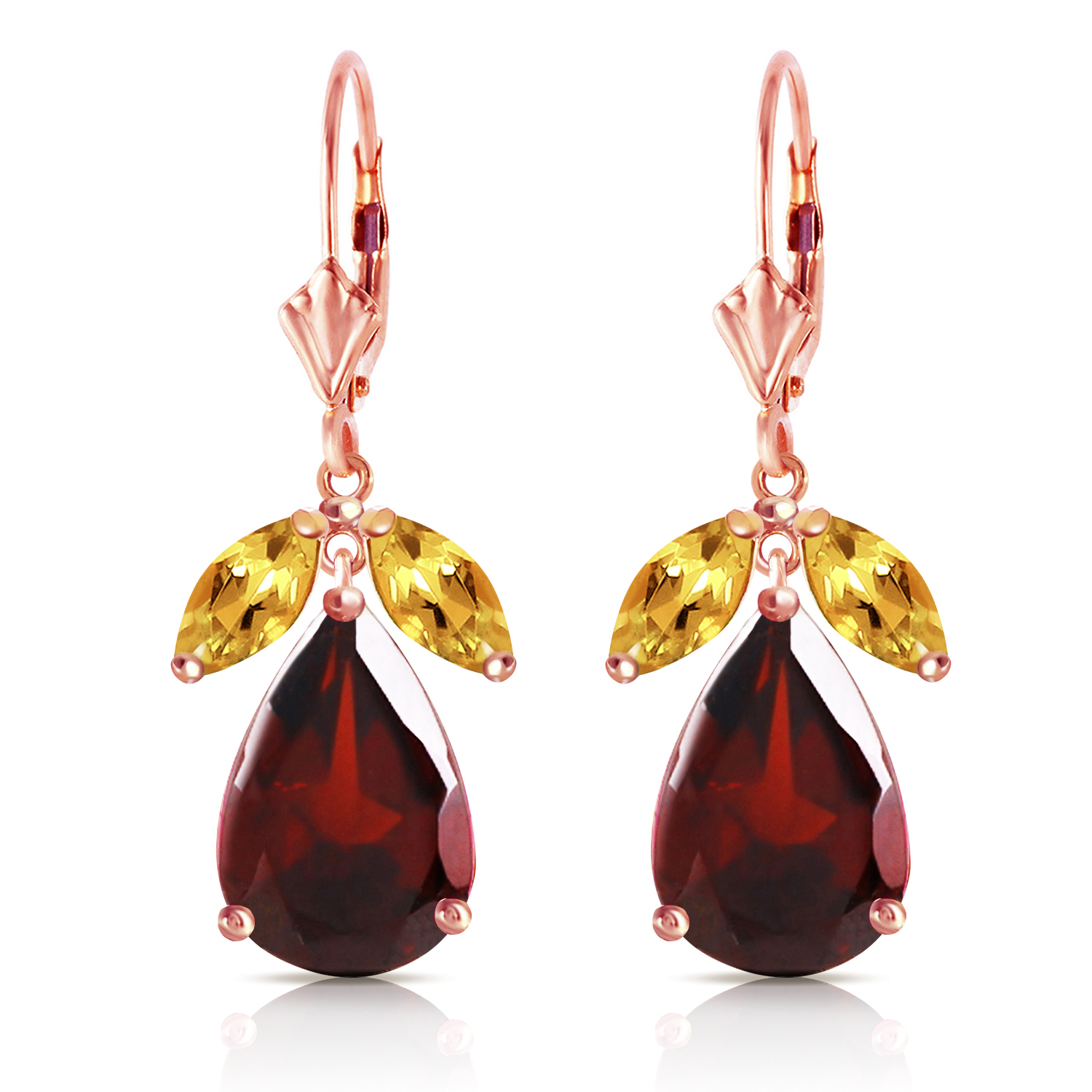 Primary image for 13 Carat 14K Solid Rose Gold Leverback Earrings Citrine Garnet