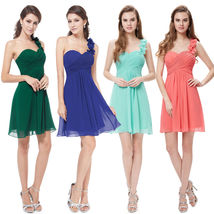 Sample Coral Chiffon Short Bridesmaid Dresses Above Length Women Party Dress  - $60.00
