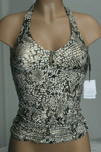 NEW Calvin Klein Sand Snake Print Bar Halter Tankini Swim Top size M Medium image 1