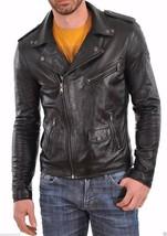 Mens Black genuine Leather Handmade Bespoke cowhide Jacket Real Leather Jacket - $118.79+