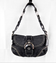 COACH PURSE K05Q-6171 Signature C Jacquard BLACK w/ Silver Buckles Stora... - €35,02 EUR