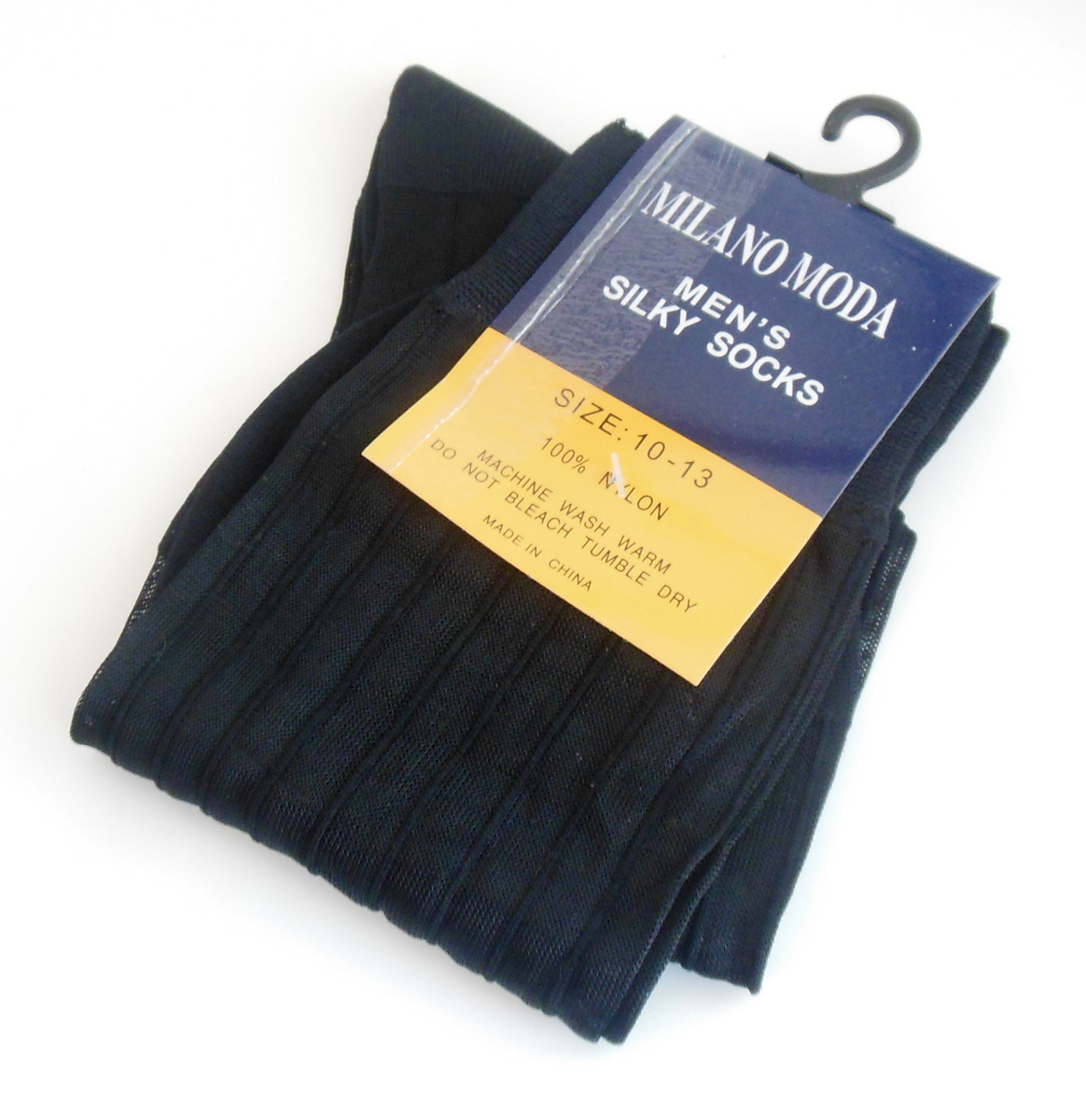 Milano Moda Mens Ribbed Socks Silky Nylon In Black Sz 10 to 13 Semi Sheer