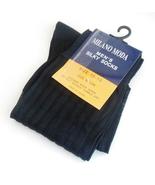 Milano Moda Mens Ribbed Socks Silky Nylon In Black Sz 10 to 13 Semi Sheer - $10.95