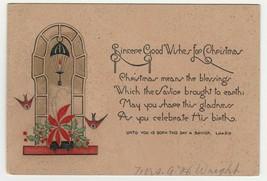 Vintage Christmas Card Window Birds Candle Poinsettias 1930's - $7.91