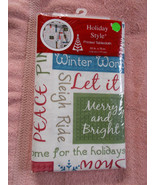 "Festive Christmas Sayings Tablecloth 52""x70"" Holiday Style Peace Let it ... - $10.88"