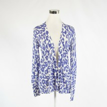 Periwinkle purple white cheetah 100% cotton ANN TAYLOR LOFT cardigan swe... - $12.49